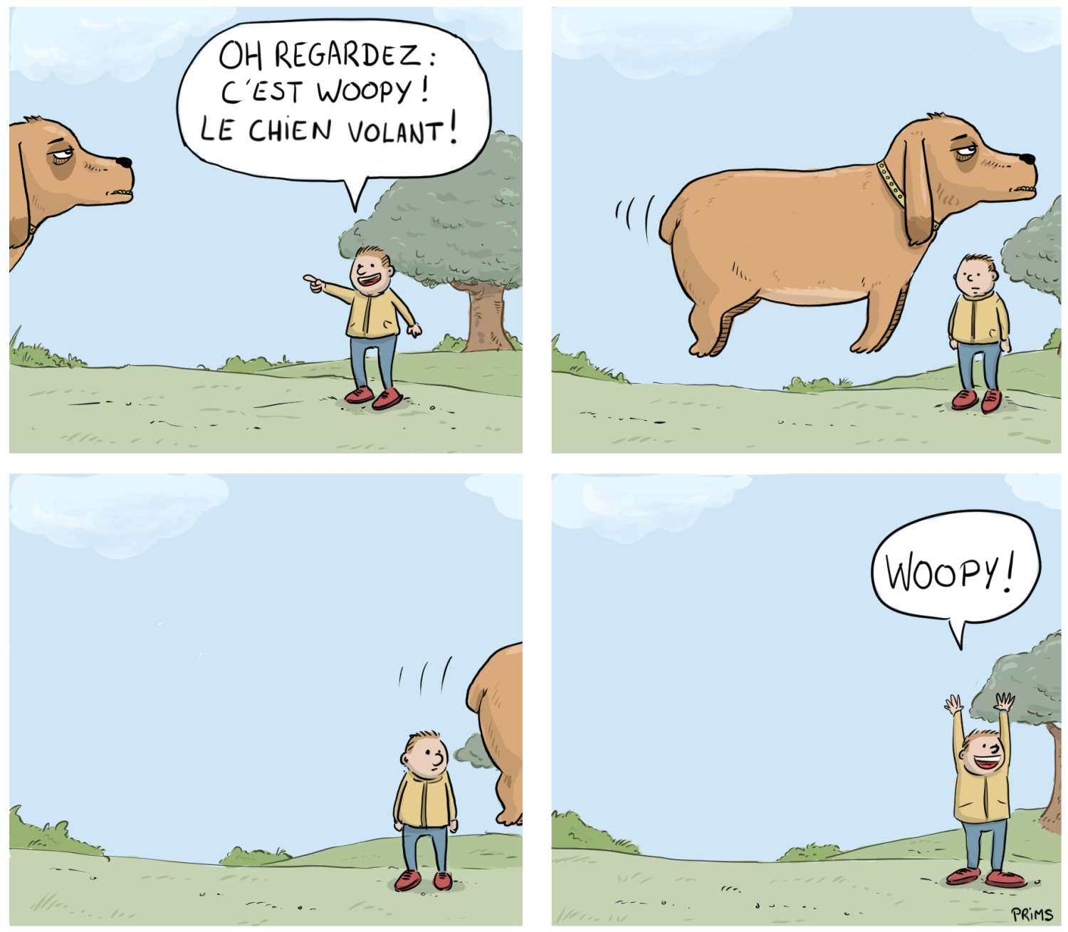 Dessin, BD : Woopy le chien volant